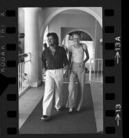Model-Actress Twiggy and Justin de Villeneuve in Los Angeles, Calif., 1973