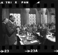 Mayor Tom Bradley in council chambers, addressing city officials and council members on his first day of office in Los Angeles, 1973