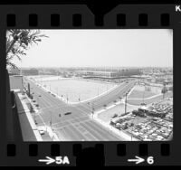 Birds-eye view of two undeveloped lots next to the Los Angeles Convention Center, 1973