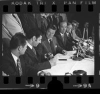 Governor Ronald Reagan and state Senator George Deukmejian signing the 1973 California death penalty bill, SB450