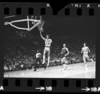 Los Angeles Lakers Pat Riley going for a lay-up during game vs Golden State Warriors, 1974