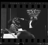 Jessye Norman and Zubin Mehta performing at opening of Los Angeles Philharmonic's 55th season, 1973