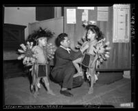 Ronald Numkena with his sons Anthony and Earl at Los Angeles Indian Center, 1949