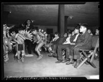Indian children in tribal dress dancing at Los Angeles Indian Center, 1949