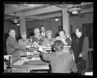 Senior citizens arrested for penny ante gin rummy gambling in Los Angeles, Calif., 1950
