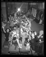 Fanchonettes, female dance troupe, backstage stage at their makeup tables in Los Angeles, Calif., circa 1950