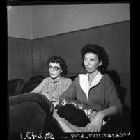 Nurses Ermaline Weese and Mrs. Cecile Bogdanoff during grand jury abortion investigation , Los Angeles, Calif., 1950
