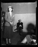 Full length portrait of Helen Gahagan Douglas, Los Angeles, circa 1939