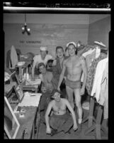 "Male cast members of ""South Pacific"" backstage in their dressing room, Los Angeles, Calif., 1950"
