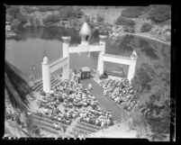 Overhead view of dedication ceremony of Golden Lotus Temple at Self-Realization Fellowship Church in Los Angeles, Calif., 1950