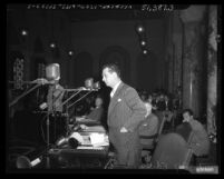 Councilman Edward R. Roybal speaking about bill to require Communists to register with police in Los Angeles, 1950