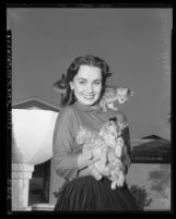 Actress Susan Cabot with three kittens, circa 1950