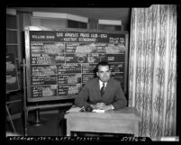 Richard M. Nixon seated before Los Angeles Press Club election scoreboard showing him winning a U.S. Senate seat, 1950
