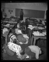 Atom bomb drill at school in Los Angeles, Calif., circa 1951
