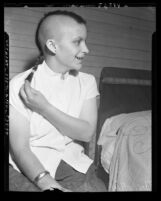 Seventeen-year-old Josephine Amaya with mohawk haircut, Los Angeles, Calif., 1951