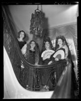Mrs. Adda Power, consul's wives Mrs. Jose Del Arco, Mrs. Gilberto Capriles and Mrs. Antonio Bace dressed in traditional Spanish costume in Los Angeles, Calif., 1951