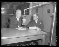 Earl Warren and columnist Leslie E. Claypool during KFWB radio interview in Los Angeles, Calif., circa 1951