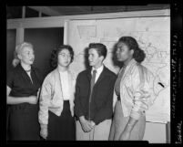 Eileen Siedman, Aiko Uyeda, Henry Goldman and Shirley Dumas of Interracial Festival in Los Angeles, Calif., 1952