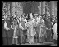 Catholic dignitaries at opening of Knights of Columbus convention at St. Vincent de Paul Church in Los Angeles, Calif., 1952