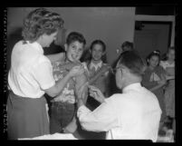 Barry Naman amongst other children receiving diphtheria vaccination in Los Angeles, Calif., 1952