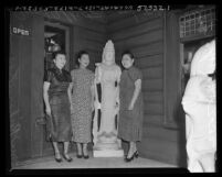 Chinese Women's Club members Bessie Loo, Lily Quon and Mrs. I. L. Chow Los Angeles, Calif., 1952