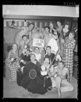 "USC Sigma Phi Epsilon fraternity members with kidnapped UCLA stuffed bear mascot ""Joe Bruin"" in Los Angeles, Calif., 1952"