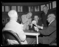 Men playing cards at Eastside Jewish Community Center in Los Angeles, Calif., 1952