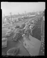 Traffic jam at Venice Boulevard and La Cienega Boulevard in Los Angeles, Calif., 1953