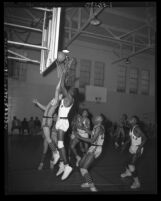 Jordan High School vs San Pedro High School basketball game in Los Angeles, Calif., 1953