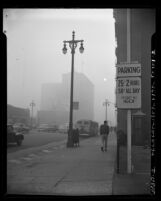 Street scene on foggy and smoggy day in Los Angeles, 1953