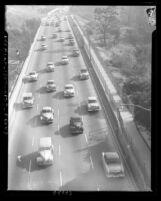 Freeway traffic in Los Angeles, Calif., 1953