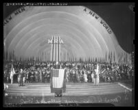 Hollywood Bowl stage crowded with people at Moral Re-Armament Rally, Los Angeles, 1939