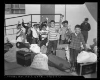 Boys with luggage at Jewish Boys Camp, Los Angeles, Calif., circa 1953