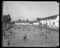 Bathers at Los Angeles public swimming pool the Municipal Plunge, Los Angeles, circa 1920