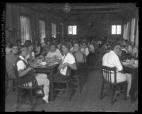 Girls eating in the mess hall of Griffith Park Girl's Camp, Los Angeles, circa 1920
