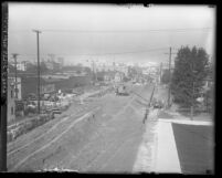 Road construction on Olive Street for 1930 extension from Pico to 23rd street in Los Angeles, Calif.
