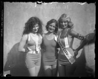 Three finalists of Seashore Day, Elks National Convention Bathing Beauty Contest in Los Angeles, Calif., 1935