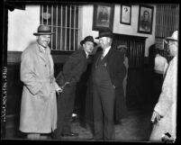 "Bootlegger ""Socks"" McDonald in handcuffs at Los Angeles city jail"
