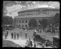 Crowd gathering outside Angelus Temple to hear Aimee Semple McPherson preach, Los Angeles, 1923