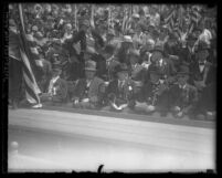 Civil War veterans sitting in crowd during Memorial Day celebration at the Los Angeles Coliseum