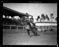 Baseball player Solly Mishkin catching a ball in Los Angeles, Calif., circa 1926