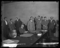 Courtroom scene during Gordon Stewart Northcott's murder trial, Riverside, 1929