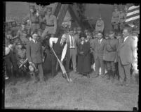 Judge Benjamin Bledsoe participating at 1925 Pacific Military Academy's ground breaking ceremonies