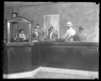 Police reenactment of robbery at Pacific National Bank in Los Angeles, Calif., circa 1928