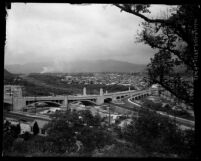 Panoramic view of Glendale-Hyperion bridge with the Los Angeles River and the hills, Atwater Village (Los Angeles), circa 1927