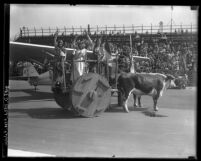 Guatemalan beauties in a cart hauled by two oxen at dedication of the Grand Central Air Terminal in Glendale, Calif., 1929