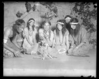 "Scene One from ""First Californians"" pageant showing Indians at a campfire, Los Angeles, 1929"