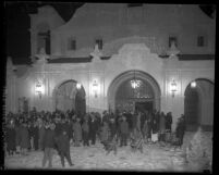 "Opening night crowd for the ""Mission Play"" standing outside Mission Playhouse in San Gabriel, Calif., 1927"