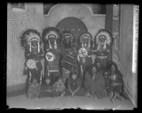 Actors dressed as Indians for Mission Play in San Gabriel, circa 1928