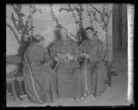 Three actors dressed as Spanish friars for Mission Play in San Gabriel, Calif., circa 1928
